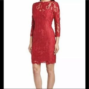 Adrianna Papell illusion lace sheath dress red 2P